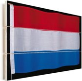 Close-up van de vlag van Luxemburg Vurenhout met planken 80x60 cm - Foto print op Hout (Wanddecoratie)
