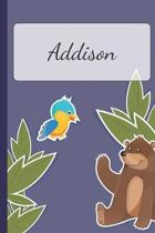Addison: Personalized Notebooks - Sketchbook for Kids with Name Tag - Drawing for Beginners with 110 Dot Grid Pages - 6x9 / A5