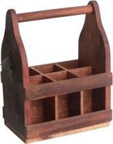 Raw Materials Factory Flessenkrat met opener – 6 vakken – Gerecycled hout
