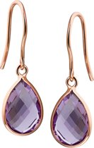 The Jewelry Collection Oorhangers Amethyst - Rosï¿œgoud