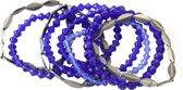 elastische armband donker blauw met antraciet grijs