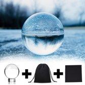 AWEMOZ® Kristallen Foto Bol Set - 6 cm - Fotografie Bal - Glazen Standaard - Schoonmaakdoek - Opbergzak
