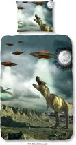 Good Morning 5735-P Dino en ufo's - kinderdekbedovertrek - 140x200/220 cm  - 100% cotton - multi