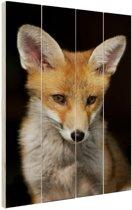 Rode vos portret Hout 20x30 cm - klein - Foto print op Hout (Wanddecoratie)