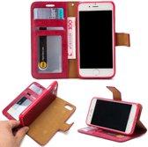 Leren Wallet Case - iPhone 7/8 - Uitneembaar - Rood/Roze - Crazy Horse