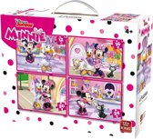 Disney 4 in 1 Puzzel Minnie Mouse - Vier Kinderpuzzels in een Koffertje - King