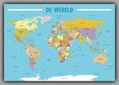 Poster Kaart Wereld Nederlandstalig- 100x70 Cm - Multi
