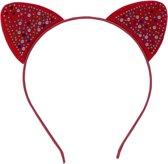 Jessidress Haarband Meisjes Haar diadeem met kattenoren vol kleine steentjes - Donker Roze