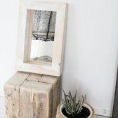 Spiegel Vurenhout Wit/Naturel S | Spiegel Handgemaakt 40 x 60 cm