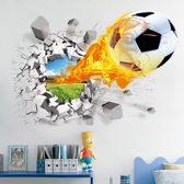 3D gebroken voetbal muursticker - muursticker - kinderkamer - slaapkamer - sport decoratie - afmeting: 50x70 cm