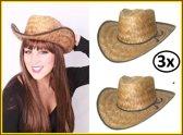 3x Stro cowboy hoed volwassen