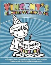 Vincent's Birthday Coloring Book Kids Personalized Books