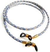 Brillenkoord - gevlochten rundleer - 3 mm - blauw geschubt - goudkleurige bevestiging