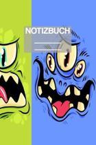 Notizbuch A5 Muster Monster Gesicht: - 111 Seiten - EXTRA Kalender 2020 - Einzigartig - Liniert - Linie - Linien - Geschenk - Geschenkidee