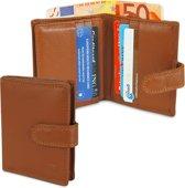Kleine Portemonnee - Creditcardhouder - Pasjesportemonnee met Muntgeld en Briefgeld - Leer - Met Drukknoopsluiting - 12 Pasjes - RFID - Bruin