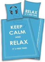 Keep Calm and Relax dekbedovertrek Blauw Lits-jumeaux (240x200/220 cm + 2 slopen)