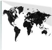 Wereldkaart zwart Glas 90x60 cm - Foto print op Glas (Plexiglas wanddecoratie)