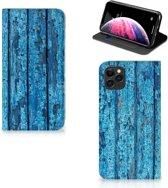 iPhone 11 Pro Max Book Wallet Case Blauw Wood
