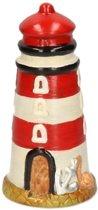 Spaarpot vuurtoren rood van polystone 19 cm - Vuurtorens spaarpotten - Cadeau idee