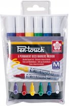 Pen-Touch Handlettering/ Deco markers set 6 kleuren met medium  punt (2,0 mm) + A6 Handlettering Oefenblok