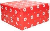Inpakpapier rood met bloemen - 200 x 70 cm - kadopapier / cadeaupapier