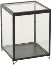 J-Line Glazen Box Rechthoek Metaal / Glas Zwart 38.5x40x51.5