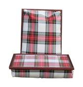 Margot Steel laptray/schoottafel dubbele tartan wit/rood/groen - 41 x 31 10 cm
