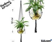 Love Earth Macrame Plantenhanger – 90 cm – Zwart – Inclusief gratis haakje