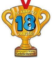 Trofee met lint - Trophy - 18 jaar