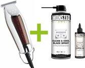 WAHL Detailer Trimmer T-Wide 38mm - 5-Star - Strakke lijnen - Lichtgewicht + Monster Clippers Clean & Cool Blade Spray + Monster Clippers Oil voor Tondeuses en Trimmers