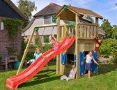 Jungle Gym - Cottage Playhouse 1-Swing - Speeltoestel met Schommel - Met Glijbaan - Rood