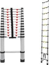 Telescopische ladder - 13 sporten - Maximale werkhoogte 3.80m - Aluminium