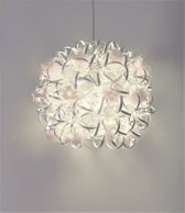 Funnylight Design hanglamp vrolijk met prachtige aluminium zilveren krullen en organza witte bloemen - unieke trendy lamp en decoratie in de woon kamer, slaapkamer, keuken en hal