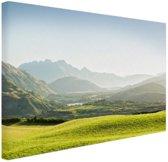 Heuvellandschap Nieuw-Zeeland  Canvas 120x80 cm - Foto print op Canvas schilderij (Wanddecoratie woonkamer / slaapkamer) / Zee en Strand