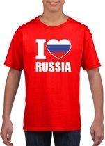 Rood I love Rusland supporter shirt kinderen - Russisch shirt jongens en meisjes M (134-140)