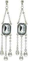 Behave® Oorbellen hangers zilver kleur 7 cm