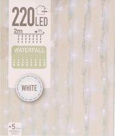 Kerstverlichting koel wit LED lichtgordijn 1x2 meter binnen/buiten - 220 witte kerstlampjes - Kerstversiering/kerstdecoratie