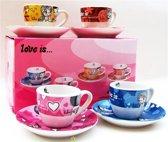 Love Is ... Espresso Kopjes Set Heel leuk & Bijzonder !! Koffie kopjes