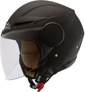 Helm Scooter/Moter -SMK Streem- Mat -Zwart-Maat XL - ECE 22-05 certificering - Comfortabel - Breath deflector- 100% UV-protectie - Microlock kinbandsluiting - breed zichtveld