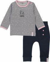 Dirkje Basics Meisjes Set (2delig) Shirt gestreept met Broek Donkerblauw - Maat 68
