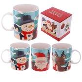 4 Bekers kerst rendier/sneeuwpop/kerstman-