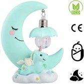 Baby Nachtlampje - Eenhoorn kinderlamp voor nachtkastje - Babykamer Verlichting - Maan - Speelgoed -  batterijen inbegrepen - Blauw