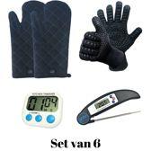 Set van 2 BBQ Handschoenen (Kevlar-Aramide), 2 Canvas Ovenwanten, 1 Zwarte Inklapbare Kookthermometer en 1 Digitale Kookwekker