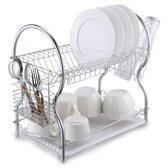 KitchenBrothers RVS Afdruiprek met Lekbak - Twee Laags Afwasrek met Bestekmand en Glazen Houder - Vaatwasrek - Keukenrek - Metaal - Chrome