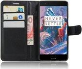 Lederen OnePlus 3 hoesje met kaarthouder zwart