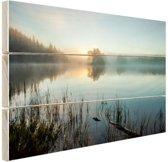 Zonsopkomst bij het meer Hout 80x60 cm - Foto print op Hout (Wanddecoratie)