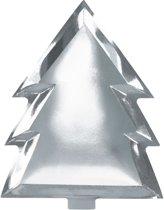 Zilver bord in kerstboom vorm (6 stuks)
