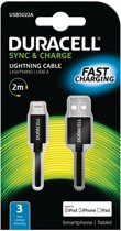 Duracell Apple Lightning Laadkabel USB - 2M Zwart