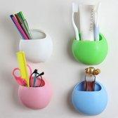 Hangende Tandenborstel Houder Beker Met Zuignap - Tandenborstelkoker Kind - Wit