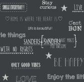 Sanders & Sanders behang tekst zwart - 935261 - 53 x 1005 cm